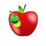 Bright red apple and glad green worm Royalty Free Stock Photos