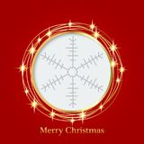 Bright red background with Christmas ornaments with snowflakes. the central part of an illustration for your text. Illustration. for design of greeting cards Royalty Free Stock Photo