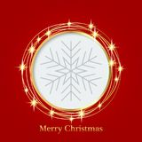 Bright red background with Christmas ornaments with snowflakes. the central part of an illustration for your text. Illustration. for design of greeting cards Royalty Free Stock Photography
