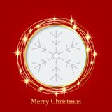 Bright red background with Christmas ornaments with snowflakes. the central part of an illustration for your text. Illustration. for design of greeting cards Stock Images