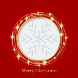 Bright red background with Christmas ornaments with snowflakes. the central part of an illustration for your text. Illustration. for design of greeting cards Stock Photography