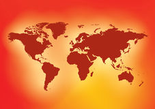 Bright red background with dark red map of the world - vector. Eps in CMYK Stock Image