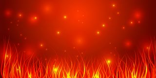 Bright red background with elements of a yellow flame. royalty free illustration
