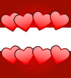 Bright red background with hearts Royalty Free Stock Photos