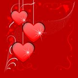 Bright red background with hearts Royalty Free Stock Image