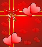 Bright red background with hearts Stock Photos