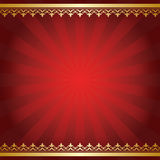 Bright vector red background with rays and golden ornament Royalty Free Stock Images