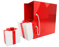 Bright red bag with a pair of gifts isolated Stock Image