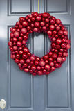 Bright Red Ball Ornaments Wreath Stock Image