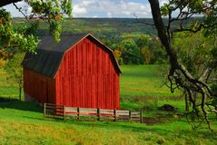 Bright Red Barn Stock Image