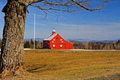 Bright red barn with a view Royalty Free Stock Photo