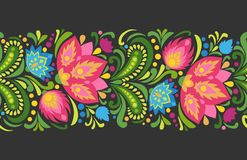 Bright red and blue flowers on dark background. Folkloric ornament. Vector seamless border. Horizontal decorative ornament in traditional slavic style. Ornate Stock Image