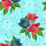 Bright red and blue flowers on pattern for textile Stock Images
