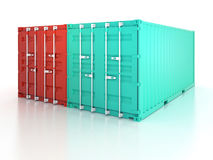 Bright red and blue metal freight shipping containers on white b Stock Photography