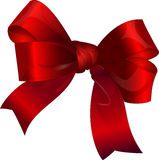 Bright red bow isolated over white background Stock Photos