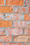 Bright red brick wall texture macro closeup, old aged detailed rough grunge cracked textured bricks copy space background vertical Stock Photography