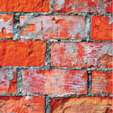 Bright red brick wall texture macro closeup, old detailed rough grunge cracked textured bricks copy space background, grungy Stock Images