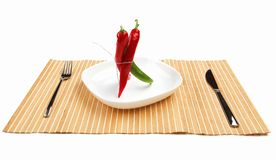 Bright red and bright green chilli pepper Stock Photo