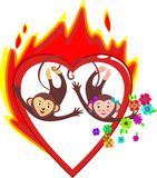 Bright red burning heart love Valentine's day. The two cute monkeys, symbols of the new year, with flowers. In the vector. Card on Valentine's day Royalty Free Stock Photo