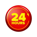 Bright red button with words `24 hours` and arrow Stock Photo