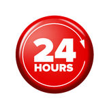 Bright red button with words `24 hours` and arrow Stock Photography