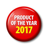 Bright red button with words `Product of the year 2017`. Circle label for bestseller, competition winner, rating leader. Design elements on white background Stock Photos