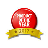 Bright red button with words `Product of the year 2017`. Bright red button and gold ribbon with words `Product of the year 2017`. Circle label for bestseller Royalty Free Stock Image