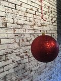 Bright red Christmas balls hang Stock Image