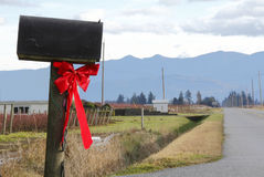 Bright Red Christmas Bow on Rural Mailbox Stock Images