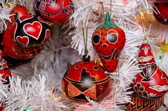 Bright red Christmas tree decorations in Southwestern style in O Royalty Free Stock Photography