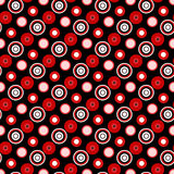 Bright red circles on a black background geometric seamless pattern. (vector eps 10 Royalty Free Stock Photography