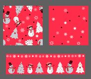 Bright red colors` Set with seamless patterns. Winter Christmas royalty free illustration