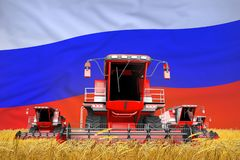 Industrial 3D illustration of 4 bright red combine harvesters on rural field with flag background, Russia agriculture concept. 4 bright red combine harvesters on vector illustration