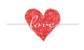 Bright red complicated lined heart with love word