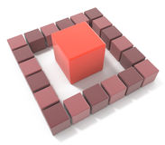 Bright red cube leadership concept Royalty Free Stock Image
