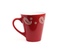 Bright red cup with interesting patterns Royalty Free Stock Photo