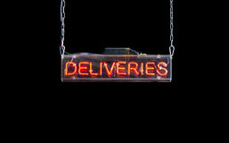 Bright Red Delivery Sign Stock Image