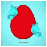 A bright red Easter egg on heavenly sky-blue color background with two blue butterflies and holiday congratulation text. Happy Easter. Oval frame with shadow Royalty Free Stock Photo