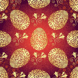 Bright red Easter pattern with eggs. Bright red pattern with Easter golden eggs and flowers, vector EPS10 Stock Image