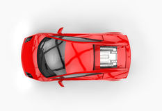 Bright Red Fast Car. Top view Stock Photos