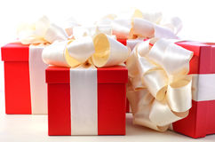 Bright red festive gift boxes Royalty Free Stock Photo
