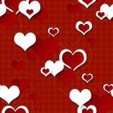 Bright red festive seamless background with hearts. Bright festive seamless background with hearts Stock Photo