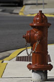 Bright Red Fire Hydrant. A bright and shiney red fire hydrant that looks newly painted Royalty Free Stock Images