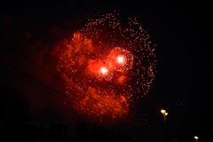 Free Bright Red Fireworks In The City Royalty Free Stock Photos - 118489018