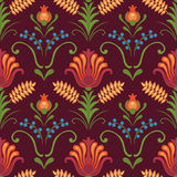 Bright red flowers on dark background. Floral vector seamless pattern in east european style Stock Image