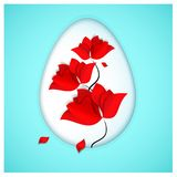 A bright red flowers with falling petals resembling drops of Christ`s blood and Easter egg symbolizes a rebirth and a. New life on heavenly sky-blue background Royalty Free Stock Image