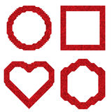 Bright red frame of small triangles.  Set of vector illustration. Bright red frame of small triangles. Heart, circle, square, hexagon. Set of vector Royalty Free Stock Photos