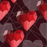 Bright red geometric abstract polygonal hearts seamless pattern background for use in design for valentines day or wedding stock illustration