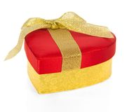 Bright red gift box in the form of heart Stock Photo