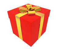 Bright red gift box with gold ribbon Royalty Free Stock Images